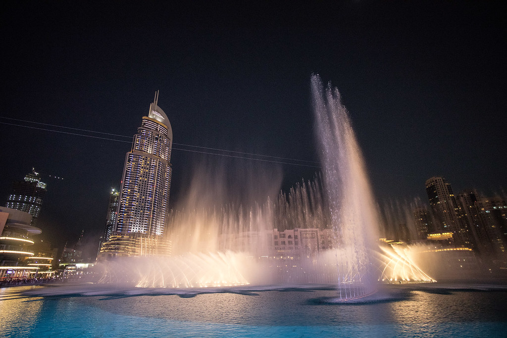 The nightly light show at the Dubai Fountain.