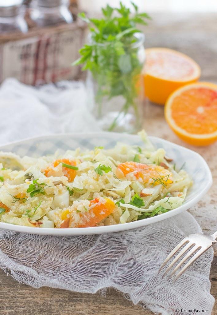 Quinoa con finocchi, cavolo cappuccio e arance