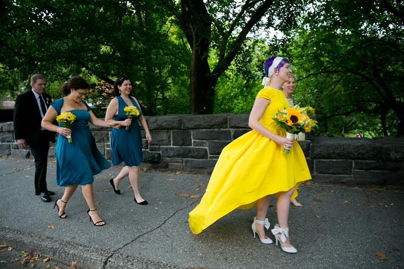 TNYC park wedding with a yellow dress as seen on @offbeatbride #weddings #yellowdress