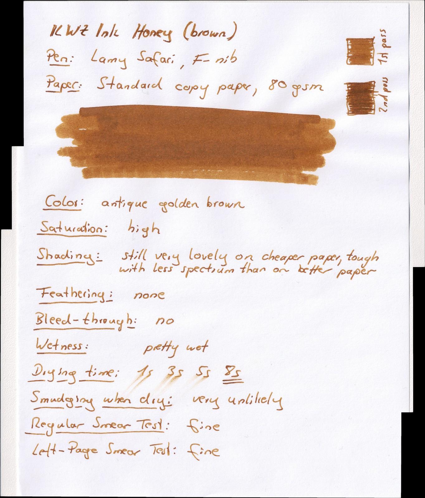 KWZ Ink Honey on Standard paper
