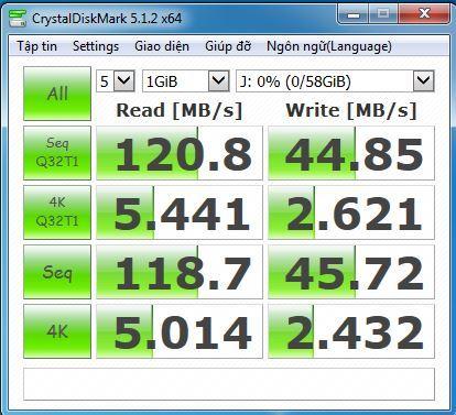 benchmark với cổng USB 3.0