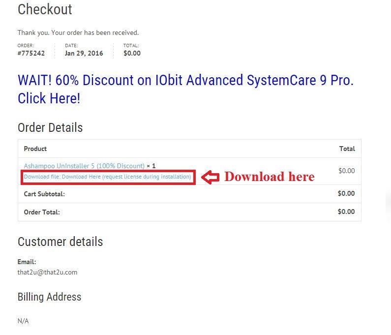 Bản quyền miễn phí Ashampoo UnInstaller 5 bước 4: nhận link download