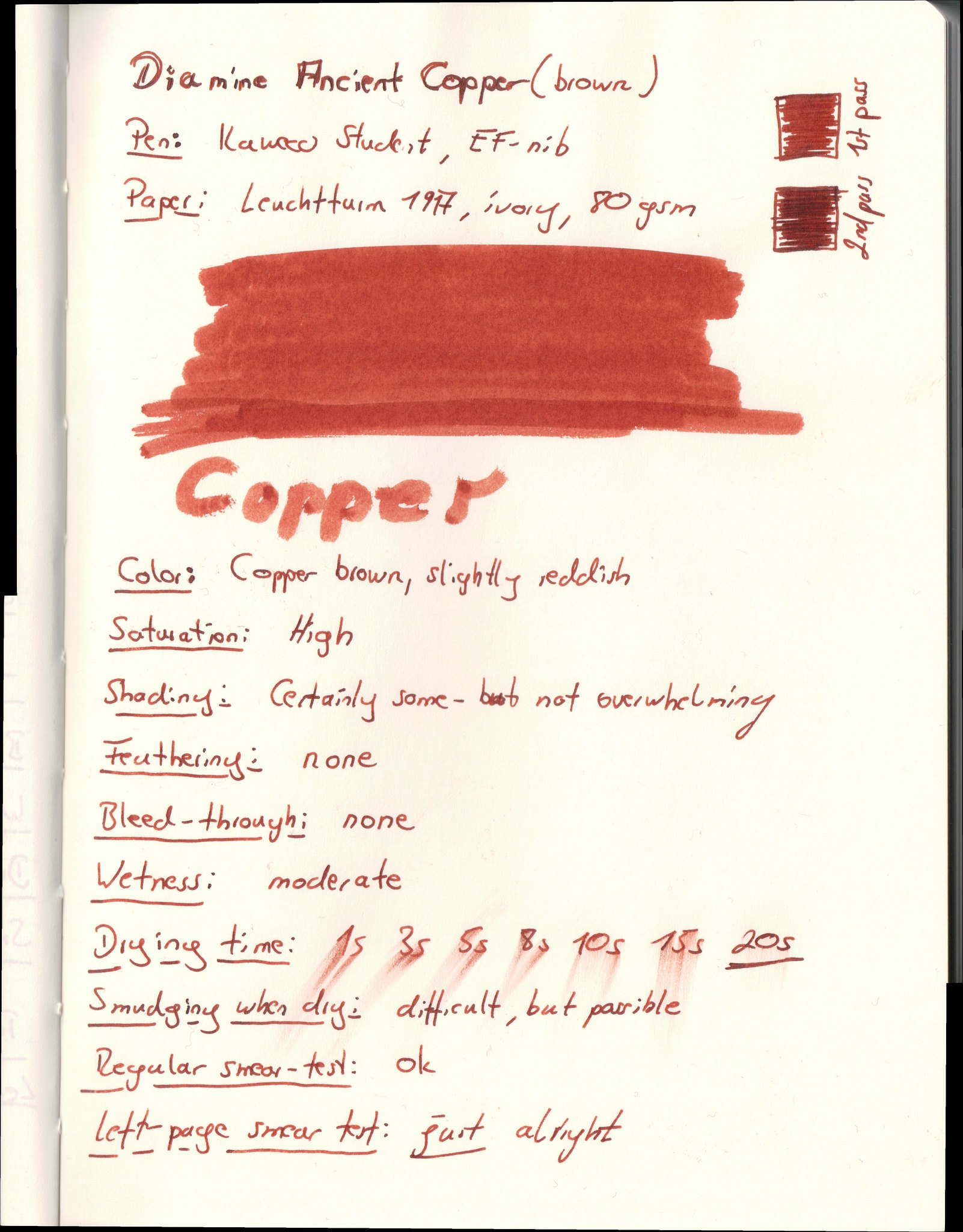 Diamine Ancient Copper on Leuchtturm paper