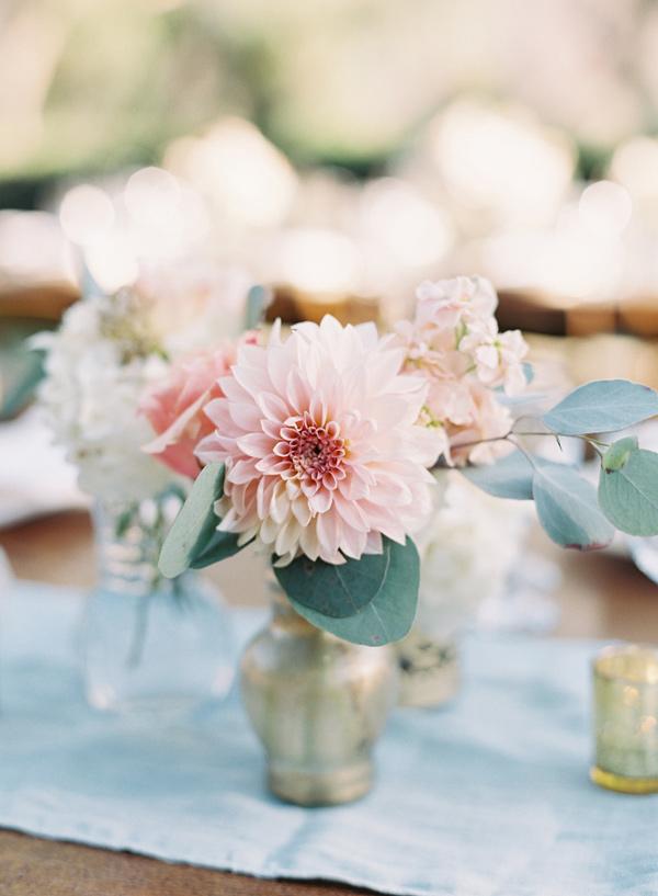 Blush Dahlias wedding centerpieces - Midsummer Night's Dream wedding Inspired + blue and aqua wedding colour theme