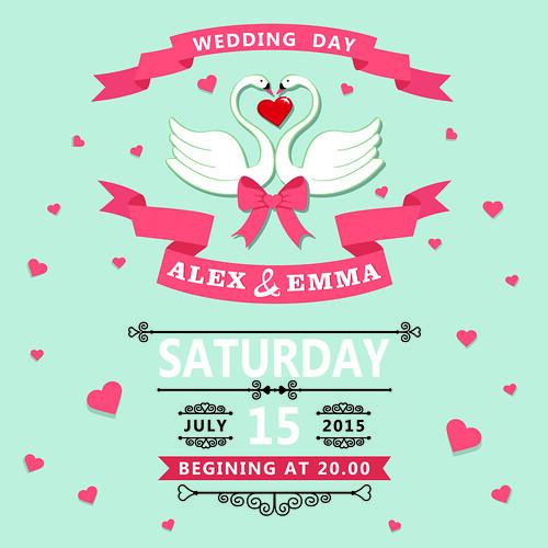 Wedding invitation with cartoon swans