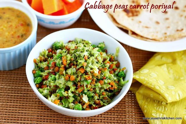 Cabbage carrot peas poriyal