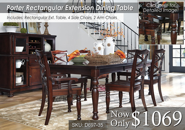 Porter Rect Ext Table 4 and 2 chairs