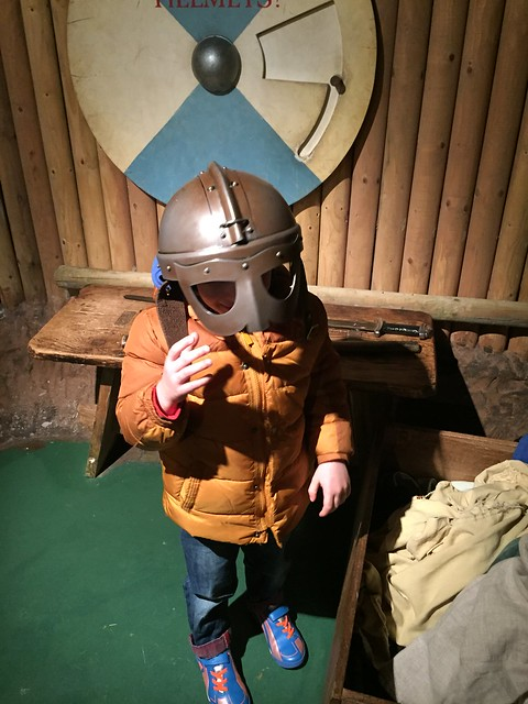 Trying on Viking outfits in Dublinia, one of the Great Dublin attractions for families.