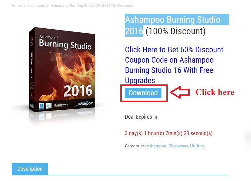 Bản quyền miễn phí Ashampoo Burning Studio 2016 bước 2: click download