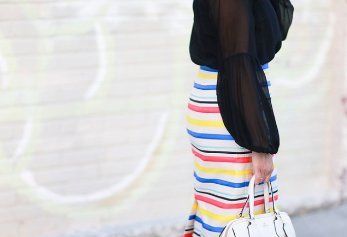 Jcrew skirt-colorful-stripes-blue heels-what to wear to work-corporate outfit-thredup-corproate catwalk-club monaco shirt-black top7