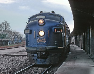 Chicago & Eastern Illinois FP7 1601 with Train 6 - 54, The Hummingbird into Danville, IL station 7:45 hours late on October 28, 1962