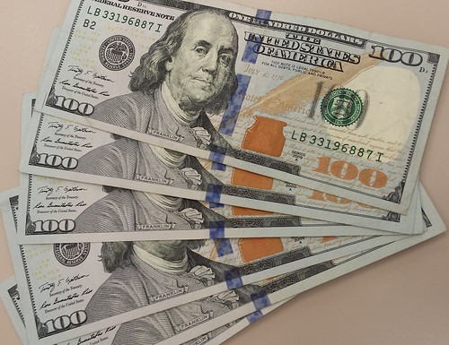 Money, 6 Benjamin Franklin $100 notes, $600. marked with blue dye, The United States of America
