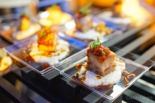 Gordon Ramsay Steak kurobuta pork belly over cheesy grits; sticky toffee pudding