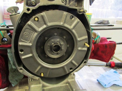 Wood Dowels Hold Clutch Parts on Flywheel Until Installation Bolts are Installed
