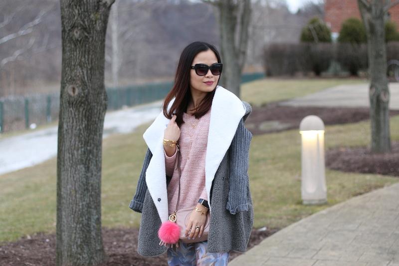 rose quartz top, shein gray coat, sunglasses