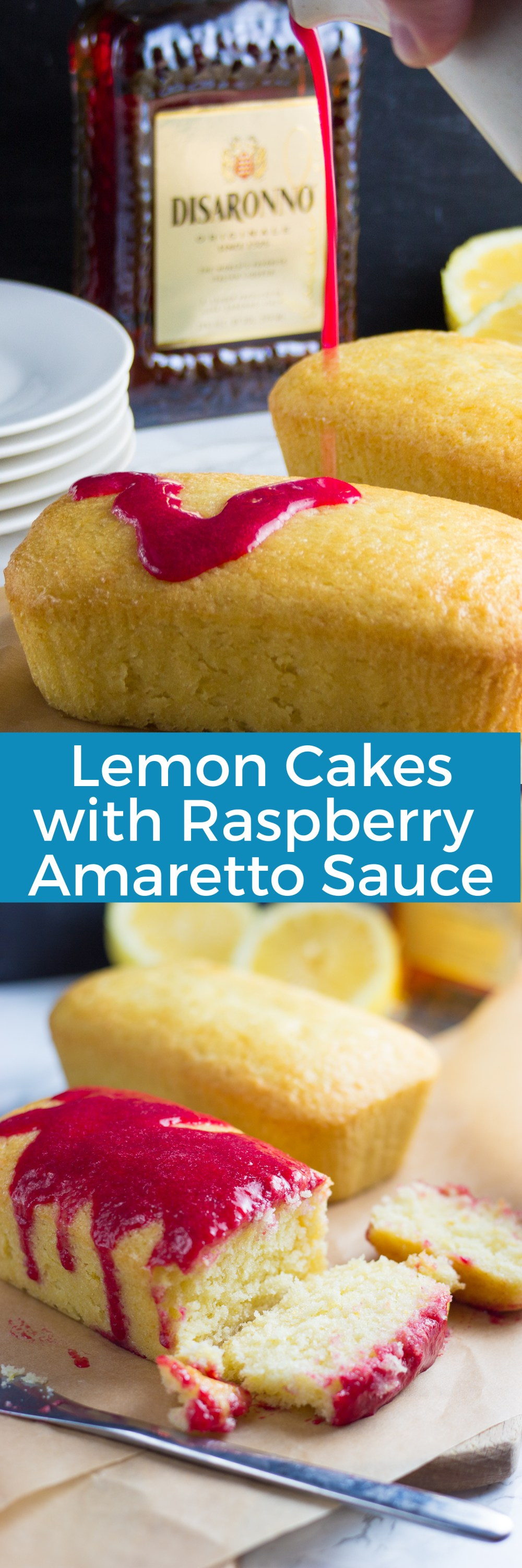 Lemon Cake with Raspberry Amaretto Sauce | in this kitchen
