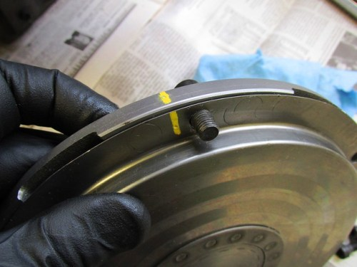 Clutch Balance Alignment Marks with Temporary Clutch Bolt