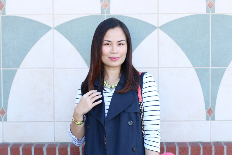 preppy spring look, stripes top, sleeveless trench