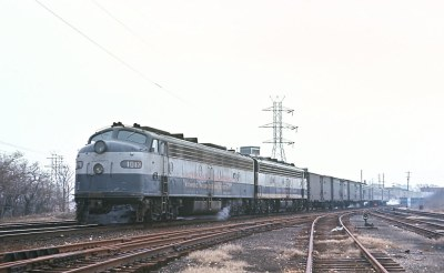 Richmond, Fredericksburg & Potomac E8A 1013 with Train 34, The Silver Comet leaving Broad Street Staation, Richmond, VA on March 9, 1969