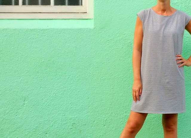 striped T-shirt dress (mint)