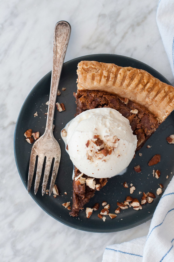 Quick, playful chocolate chess pie: the chocolate lover's dream filling topped with a crackly, crunchy pecan top! (and no starchy thickeners)