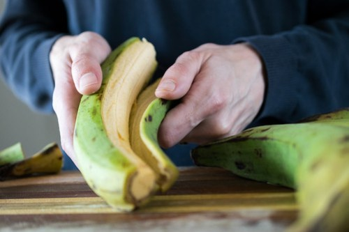 once sliced, the plantains peel easily
