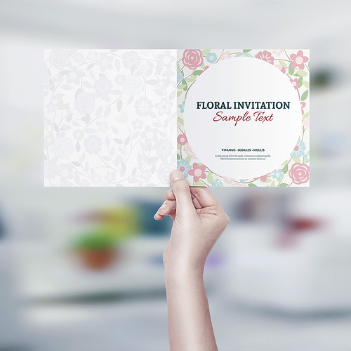Square Invitation & Greeting Card MockUp