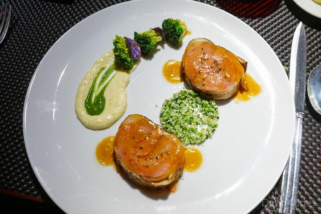 L'Agneau de Lait slow cooked lamb saddle with creamy polenta and crunchy broccoli