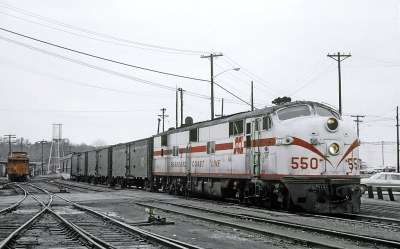 SCL E7A  550 with Train 5, the former Cotton Blossom Special, departing the Greenwood, SC station on November 24, 1967