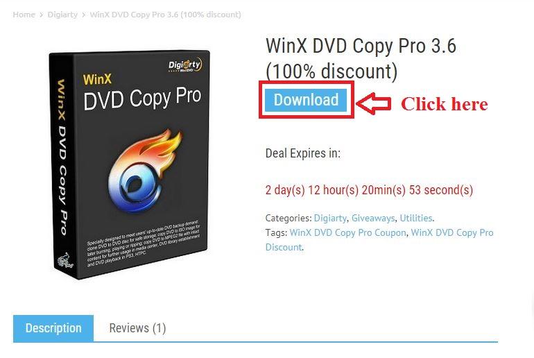 Bản quyền miễn phí WinX DVD Copy Pro 3.6 bước 2: click download