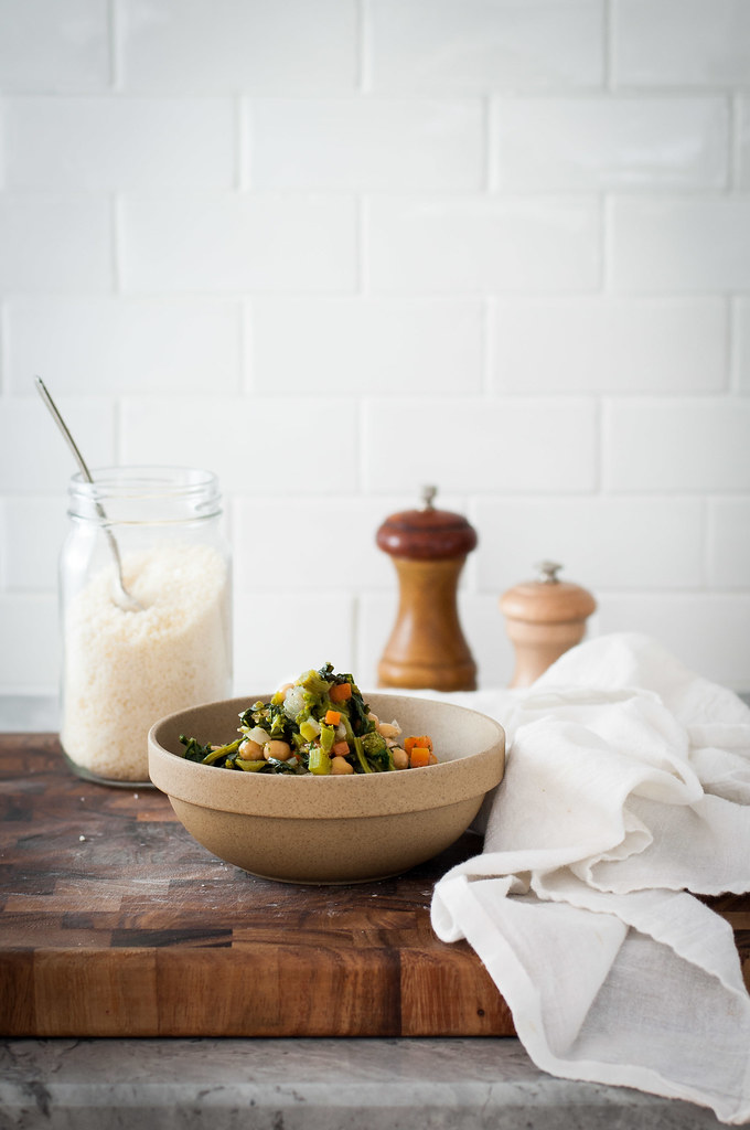 Chickpeas and broccoli rabe with homemade grated parmesan cheese