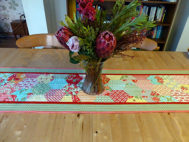 Half Hexie Table runner / Sewing World April16