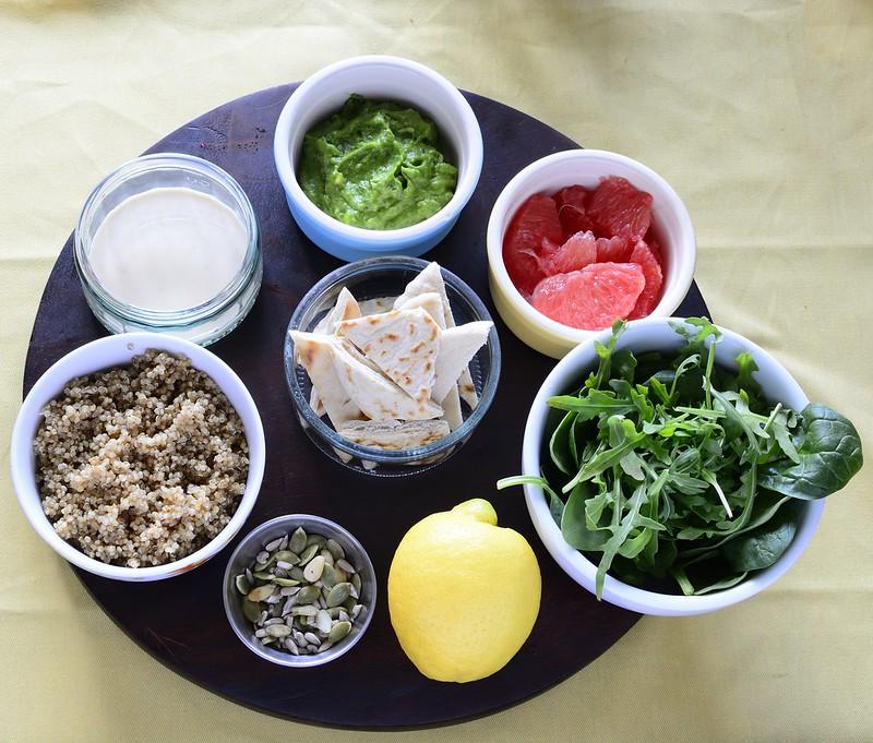 Vegan Quinoa Salad with Grapefruit and Tahini Dressing