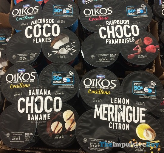 Danone Oikos Creations (Coco Flakes, Raspberry Choco, Banana Choco, and Lemon Meringue)