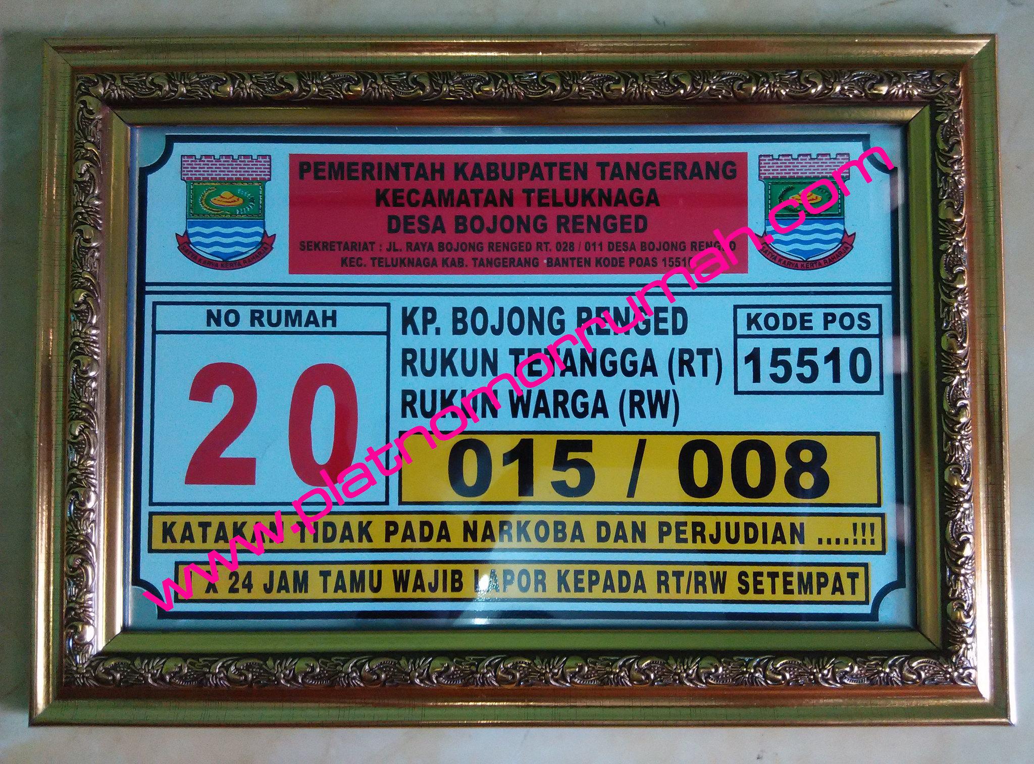 Plat Nomor Rumah Tangerang