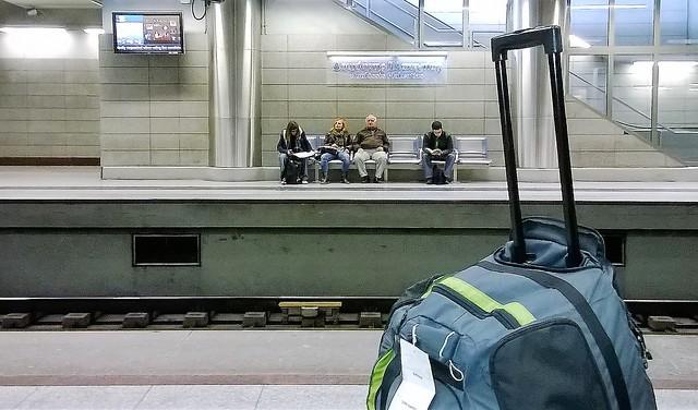 luggage waiting train station Doukissis Plakentias Athens