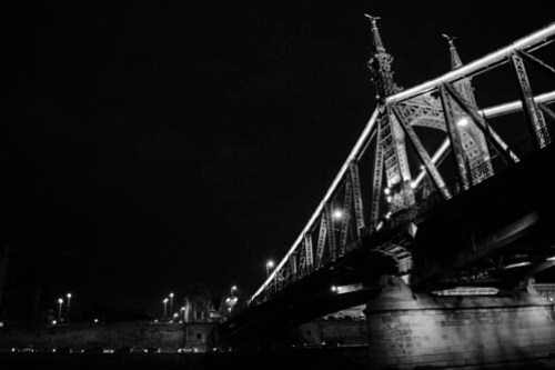 black and white bridge across Danube