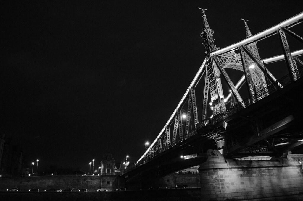 black and white bridge across Danube