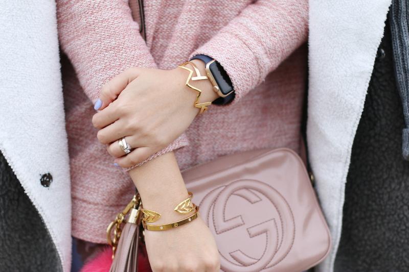 gucci disco soho bag, rose quartz, gold bangles