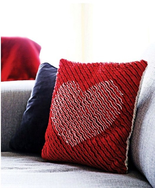 Chenille Heart Cushion Feb16 Sewing World