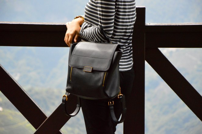 black leather backpack charles & keith, cos striped top