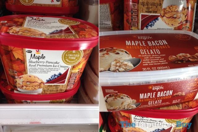Giant Limited Time Originals Maple Blueberry Pancake Premium Ice Cream and Simply Enjoy Maple Bacon Gelato