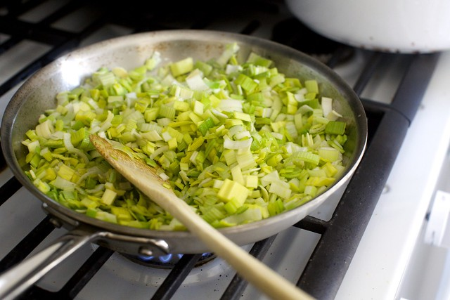 leeks, cooked until sweet