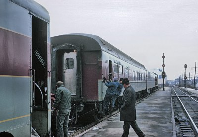 Switching out the diner and a coach from Train 5, The Lake Cities, at Marion, OH on December 21, 1969