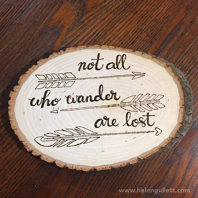 Wood-Burning with Stencil, Stamp and Hand-lettering | Living My Given Life http://helengullett.com/?p=8947 #diy #woodburning #woodslice #homedecor #handmade #handmadehomedecor #craft #stamplorations #artplorations