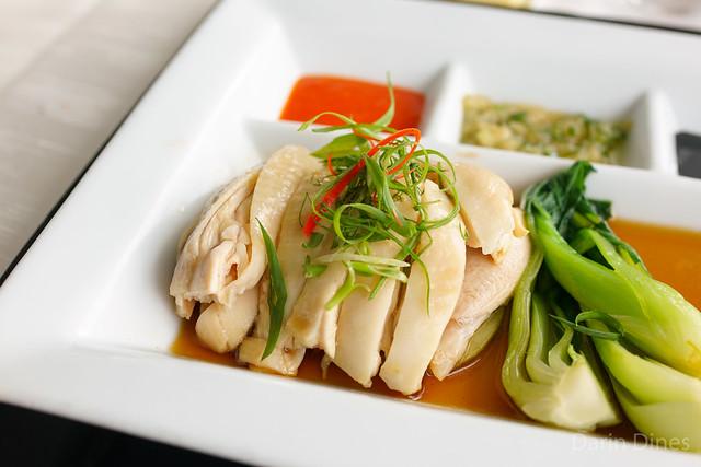 "Singapore ""Sakura"" Chicken Rice poached chicken, asian greens, fragrant rice"