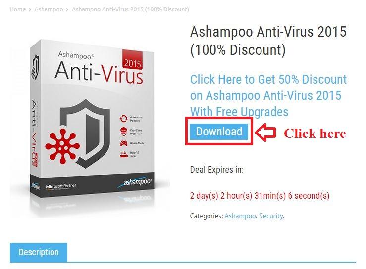 Bản quyền miễn phí Ashampoo Anti-Virus 2015  bước 2: click download