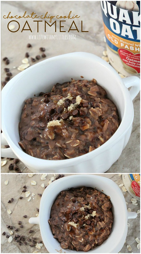This easy chocolate chip cookie oatmeal recipe is so good! Chocolatey, gooey, and tastes just like a chocolate chip cookie! Only 5 ingredients and 5 minutes to make. It's the perfect breakfast!