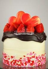 Valentine's day small Strawberry Custard Sponge Cake