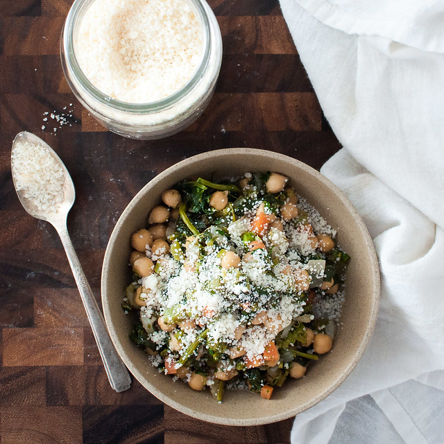 Garbanzo bean and broccoli rabe bowl with homemade grated parmesan